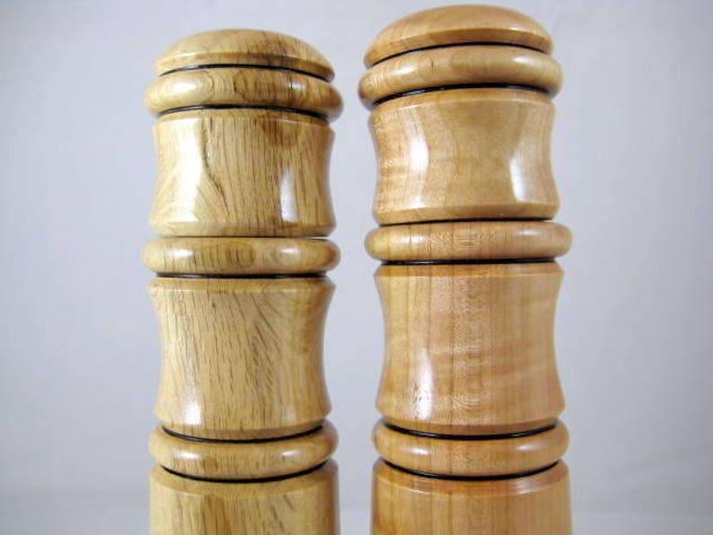Handmade Pepper Mill Salt Grinder Set Live Oak and Cherry Wood CrushGrind Mechanism