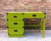 Vintage Campaign Desk In Banana Leaf Green
