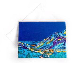 "4x5"" Card: View of Snowbird from Alta, Little Cottonwood Canyon Utah - Blank greeting card, blank card, greeting cards, by liz kuz"