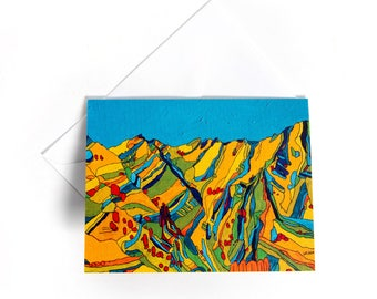 4x5 Card: Big Cottonwood Canyon #3 Blue, Utah - - Blank greeting card, blank card, greeting cards, by liz kuz