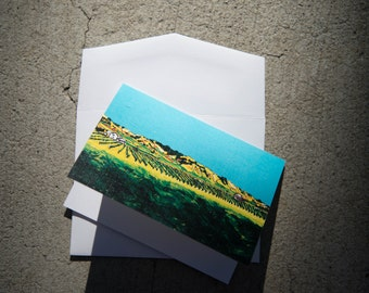 "Card 4""x5"": Anaba Vineyards, Sonoma County California. - Blank card, blank greeting card, scenic landscape card, loss card, by liz kuz"