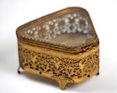 Vintage Ormolu Gold Filigree Jewelry Box, Beveled Glass Matson Vitrine Jewelry Casket, Trinket Box, Antique Victorian Bronze Jewelry Box