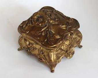 Tiny Antique Art Nouveau Jewelry Box Floral Leaves Antique