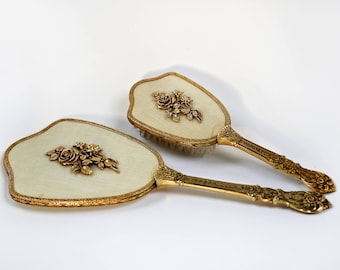 Vintage Roses  Victorian Bronze Vanity Set Vintage Globe Matson Gold Ormolu Ornate Vanity Era Floral Antique Hand Mirror, Vintage Hair Brush