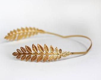 Athena Goddess Headband, Roman Tiara, Bridal Hair Accessory, Greek Goddess Headband, Bridal Tiara, Bride Golden Leaves Laurel Wreath