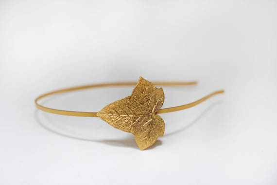 Diadema de hojas de hiedra hoja de oro diadema corona de  c29fc38bec8c