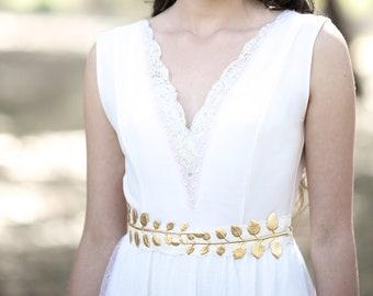 Olive Leaves Belt, Large Gold Leaf Waist Belt, Grecian Style Belt, Bridal Accessories, Giant Leaf Belt, Huge Leaf Belt, Nature Inspired,
