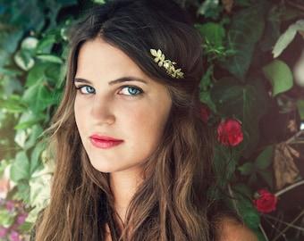 Rose Leaves Greek Goddess Crown, Greek headband, Roman crown, Bridal Hair Accessory, Floral Wreath, Golden Flower Tiara, Rear Back Headband