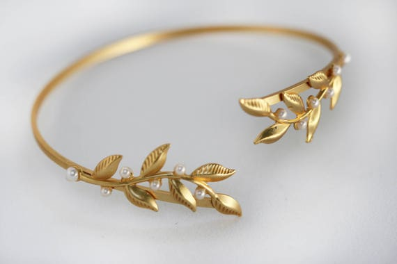 Zweige & Perlen Arm Armband, Armband, Arm Manschette, Arm Armband, Gold Blätter Draht wickeln Armband, BrautSchmuck, Hochzeit Armband, griechischen