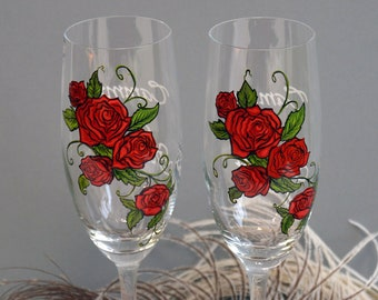 Hand painted Wedding Toasting Flutes Set of 2 Personalized Champagne glasses Roses Are Red