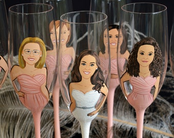 Bridal shower party , Bachelorette party , Bridesmaid gifts , Bridal shower gift, Wedding party gifts , ONE fully customized glass Portrait