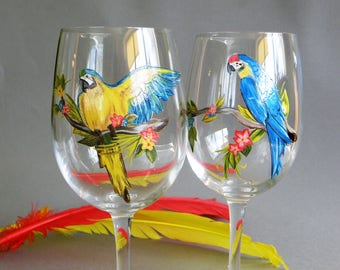 Wine glasses Tropic Flowers ,Parrots and palm leaves Hand painted Personalized set of glasses Gift for friends