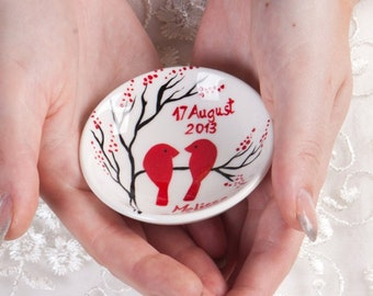 Hand painted Wedding Ring Pillow Alternative , Wedding Ring Dish Red birds on branch