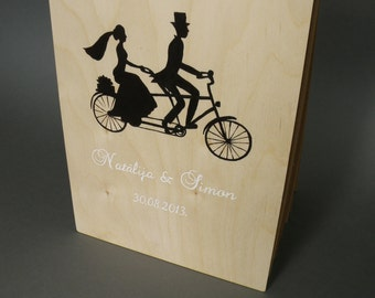 Wedding guest book Hand painted Bridal shower engagement anniversary Book Vintage Bicycle silhouette