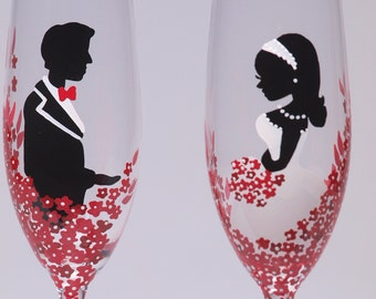 Hand painted Wedding Toasting Flutes Set of 2 Personalized Champagne glasses Red Black and White - Red passion flowers