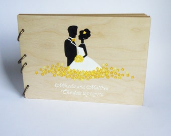 Best Price Wedding guest book Hand painted Bridal shower engagement anniversary Book Groom and Bride with Yellow flowers