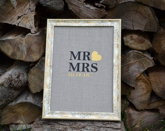 Custom Quote Wall Art, Calligraphy Gift, Favourite Phrase, Personalised Wedding Sign from Burlap Linen and rustic frame MR MRS