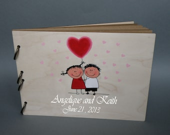 Wedding guest book / Hand painted Bridal shower engagement anniversary Book This Love is Forever ( Boy and Girl with red heart baloons)