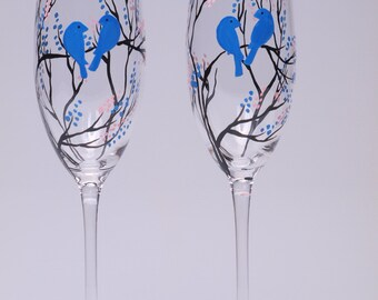 Hand painted Wedding Toasting Flutes Set of 2 Personalized Champagne glasses Black trees and Navy blue birds