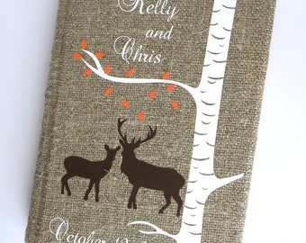 Wedding Guest Book / Wedding Book / Rustic Wedding Guest Book /  Linen Guest Book Doe and Buck under white birch tree with autumn leaves