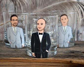 BEST OFFER Groomsmen Gift Bachelor Party Personalized Caricatures Hand painted to their Likeness Wiskey or Beer Glasses