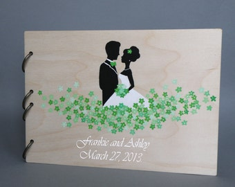 Wedding guest book Hand painted Bridal shower engagement anniversary Book Groom and Bride Loving green