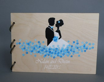 Wedding guest book Hand painted Bridal shower engagement anniversary Book Groom and Bride with blue flowers