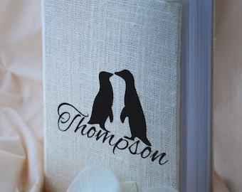 Wedding Guest Book / Wedding Book / Rustic Wedding Guest Book /  Linen Guest Book black penguin
