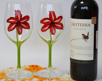 Gift Wine glasses Red Lily for Cosy wine events