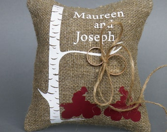 Wedding ring pillow , Ring Bearer Pillow , wedding ring cushion , Wedding decorations ,  Rustic ring pillow , Burlap ring pillow linen rope