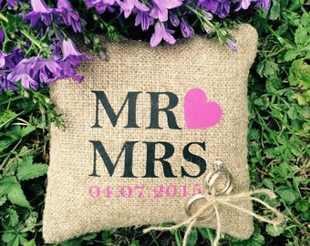 Mr love Mrs Wedding ring pillow FREE SHIPPING