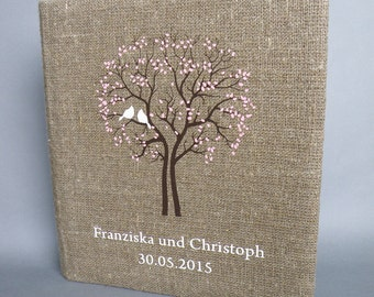 Wedding photo album or scrapbook burlap Linen Bridal shower anniversary White birds and names and black tree pink leaves