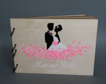 Wedding guest book Hand painted Bridal shower engagement anniversary Book  Groom and Bride with Fuchsia pink flowers