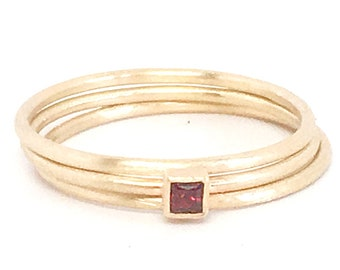 Princess Cut Square Red Garnet and Gold Ring and Two 14k Gold Stackable Spacer Bands in Matte Finish
