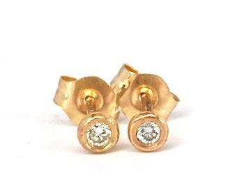 Diamond Stud Earrings Diamond Solitaire Earrings Tiny Diamond Pebble Threaded Stud 14k Gold Earrings Gift for Her