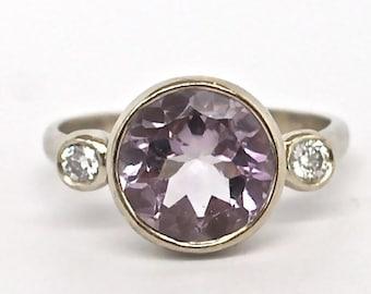 Three Stone Diamond Ring Pink Amethyst 14k White Gold Engagement Ring Huge Statement Ring