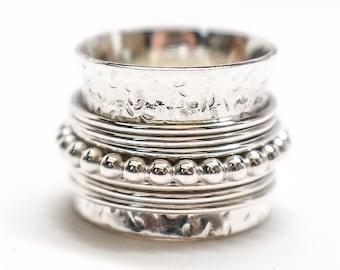 Spinner Ring Fidget Ring Cigar Band Stack Ring Spinning Ring Sterling Silver