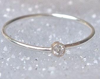 Diamond Ring 14k Gold Diamond Stacking Ring April Birthstone Diamond 14k White Gold Ring