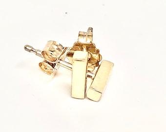 14k Gold Bar Earring, Stud Earring, Small Stud Earring, Gold Bar Earring, Gift for Her, Everyday Earrings, Simple Studs, Sterling Bar Studs