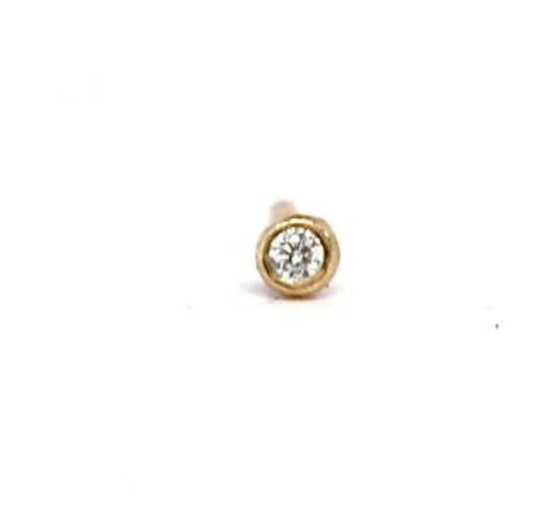 Tiny Diamond Stud Earring Single 14k Gold Diamond Earring  c479bbb89
