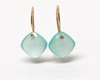 Chalcedony Earring Aqua Chalcedony Earring Checkerboard Cut Briolette Drop Earring in 14k Gold
