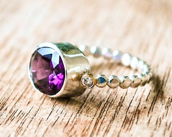 Ring Amethyst Purple Grape Amethyst Diamond Gold and Silver Bead Ring