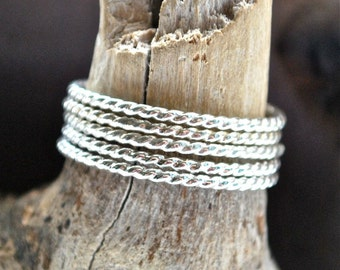 One Silver Twist band- Recycled Sterling Silver Twist Bands - Silver stack rings - Rope stacking rings