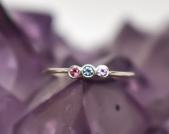 Triple Gemstone Stacking Ring, Alexandrite Ring, Pink Sapphire Stackable Triple Gemstone Ring, Womans Ring, Gift for Her, Opal  Stack