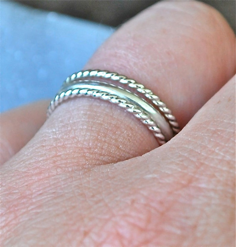 Twist Stack Sterling Stacking Rings