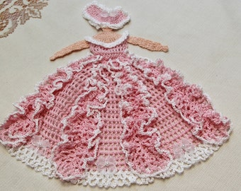 Crochet Victorian Lady Doily Pillow Cover Table topper Applique Pink White Sheer Bow Pearl