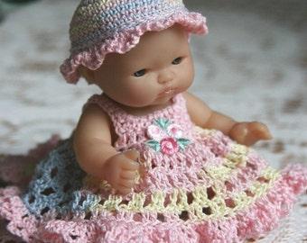 PDF PATTERN Crochet 5 inch LTL Berenguer Baby Doll Hat Sundress Full Skirt Panty Booties