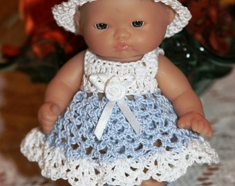 PDF PATTERN Crochet 5 inch LTL Berenguer Baby Doll Dress Hat Bottoms Booty Eyelet Sundress Set