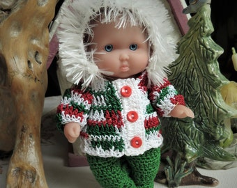 3 PDF PATTERN Crochet 5 inch Berenguer Baby Doll Baby Its Cold Outside Hooded Jacket Set Pants Shoes Girl Boy Christmas Autumn