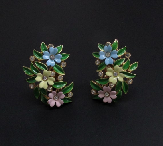 Trifari Enamel Flower Earrings, Trifari Earrings,… - image 2